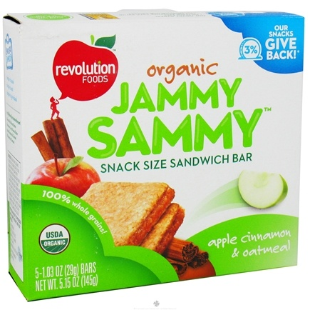 DROPPED: Revolution Foods - Organic Jammy Sammy Snack Size Sandwich Bar Apple Cinnamon & Oatmeal - 5 Bars