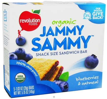 DROPPED: Revolution Foods - Organic Jammy Sammy Snack Size Sandwich Bar Blueberries & Oatmeal - 5 Bars
