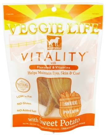 DROPPED: Dogswell - Veggie Life Vitality With Flaxseed & Vitamins Sweet Potato Jerky - 5 oz. CLEARANCE PRICED