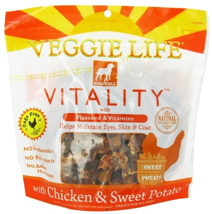 DROPPED: Dogswell - Veggie Life Vitality With Flaxseed & Vitamins Chicken & Sweet Potato Jerky - 15 oz. CLEARANCE PRICED