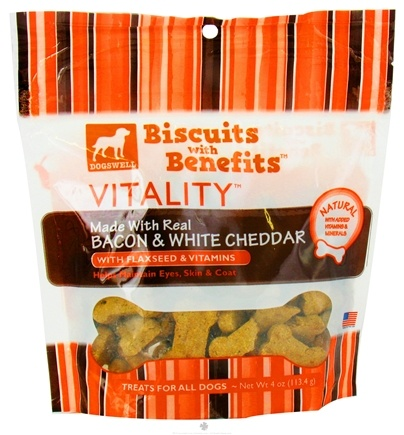 DROPPED: Dogswell - Vitality Biscuits With Benefits Bacon & White Cheddar - 4 oz. CLEARANCE PRICED