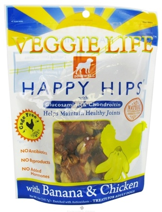 DROPPED: Dogswell - Veggie Life Happy Hips With Glucosamine & Chondroitin Banana & Chicken Jerky - 5 oz. CLEARANCE PRICED