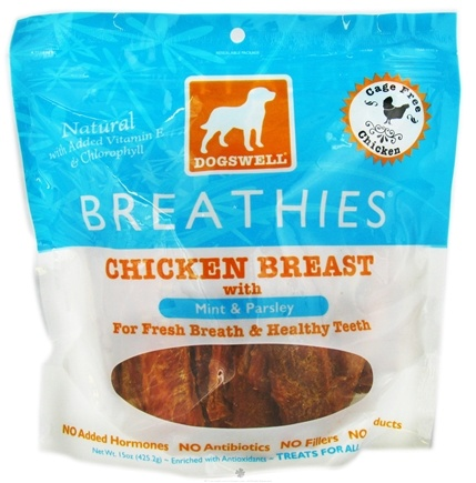 DROPPED: Dogswell - Breathies With Mint & Parsley Chicken Breast Jerky - 15 oz. CLEARANCE PRICED