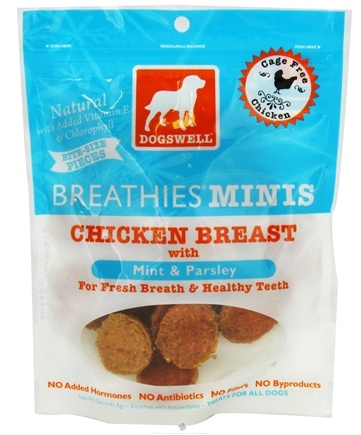DROPPED: Dogswell - Breathies Minis With Mint & Parsley Chicken Breast Jerky - 5 oz. CLEARANCE PRICED