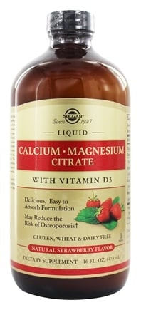 Solgar - Liquid Calcium Magnesium Citrate with Vitamin D3 Natural Strawberry Flavor - 16 oz.