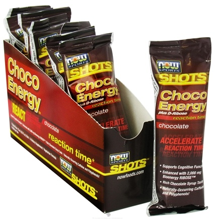 DROPPED: NOW Foods - Shots Choco Energy Plus D-Ribose Reaction Time 8 x .5 oz. Shots Chocolate - CLEARANCE PRICED