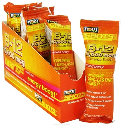 DROPPED: NOW Foods - Shots B12 Energy Boost 8 x .5 oz. Shots Mixed Berry 10000 mcg. - CLEARANCE PRICED