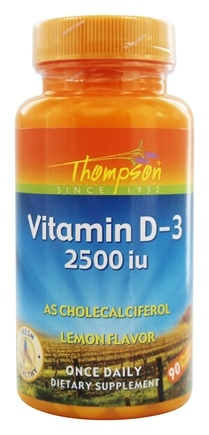 Thompson - Vitamin D3 As Cholecalciferol Lemon Flavor 2500 IU - 90 Chewable Tablets