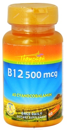 DROPPED: Thompson - Vitamin B12 As Cyanocobalamin 500 mcg. - 90 Tablets CLEARANCE PRICED