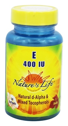 DROPPED: Nature's Life - Vitamin E Natural d-Alpha & Mixed Tocopherols One Daily 400 IU - 50 Softgels