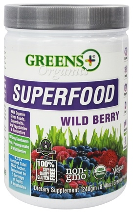 Greens Plus - Organic Superfood Powder Wild Berry - 8.46 oz.