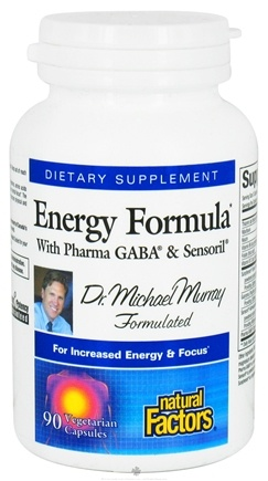DROPPED: Natural Factors - Energy Formula with Pharma GABA & Sensoril - 90 Vegetarian Capsules CLEARANCE PRICED