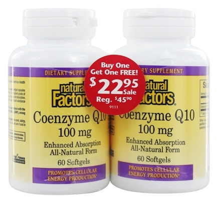DROPPED: Natural Factors - Coenzyme Q10 100 mg. (60 + 60) Softgels Twin Pack Special