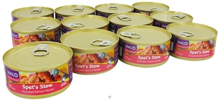 DROPPED: Halo Purely for Pets - Spot's Stew For Dogs 5.5 oz. Succulent Salmon Recipe - 12 Can(s) CLEARANCE PRICED