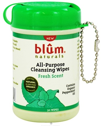 DROPPED: Blum Naturals - All-Purpose Cleansing Wipes Mini Canister Pack Fresh Scent - 30 Wipe(s) CLEARANCE PRICED
