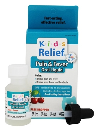 Homeolab USA - Kids Relief Pain & Fever Oral Liquid Cherry Flavor - 0.85 oz.