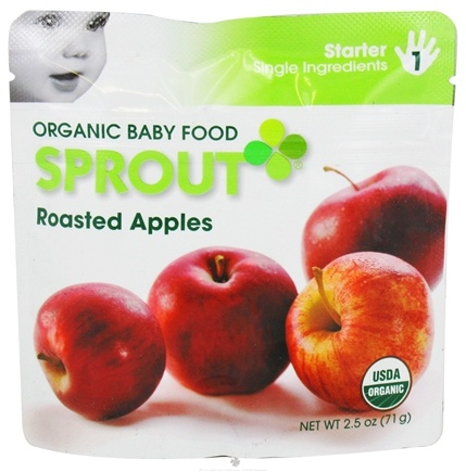 DROPPED: Sprout - Organic Baby Food Stage 1 Starter Single Ingredients Roasted Apples - 2.5 oz.