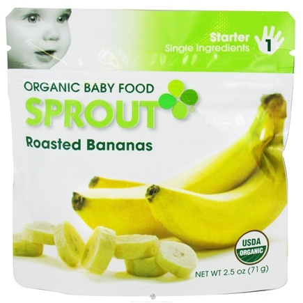 DROPPED: Sprout - Organic Baby Food Stage 1 Starter Single Ingredients Roasted Bananas - 2.5 oz. CLEARANCE PRICED