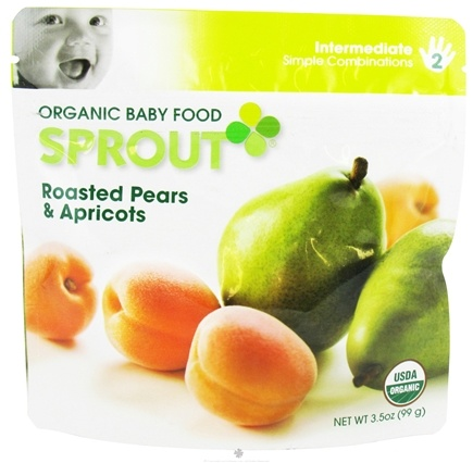 DROPPED: Sprout - Organic Baby Food Stage 2 Intermediate Simple Combination Roasted Pears & Apricots - 3.5 oz.
