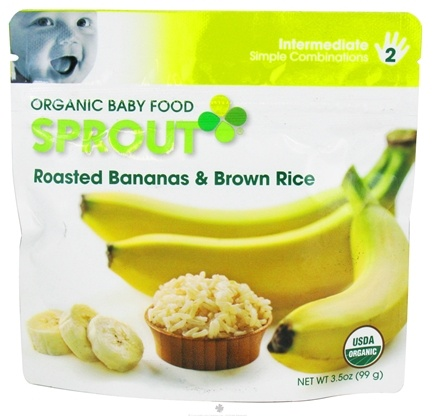 DROPPED: Sprout - Organic Baby Food Stage 2 Intermediate Simple Combination Roasted Bananas & Brown Rice - 3.5 oz.