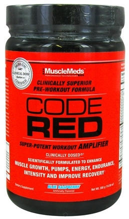 DROPPED: MuscleMeds - Code Red Super-Potent Workout Amplifier Blue Raspberry - 300 Grams CLEARANCE PRICED