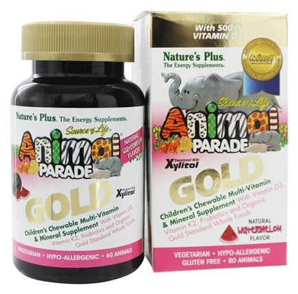 Nature's Plus - Source of Life Animal Parade Gold Children's Chewable Multi-Vitamin & Mineral Natural Watermelon Flavor - 60 Chewable Tablets