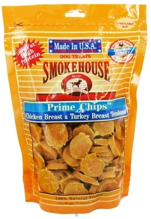 DROPPED: Smokehouse Pet Products - Prime Chips Dog Treats Chicken Breast & Turkey Breast Tendons - 16 oz.