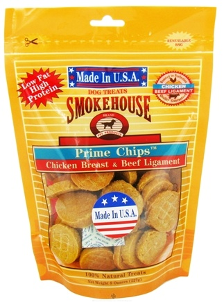DROPPED: Smokehouse Pet Products - Prime Chips Dog Treats Chicken Breast & Beef Ligaments - 8 oz.