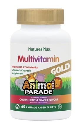 Nature's Plus - Source of Life Animal Parade Gold Children's Chewable Multi-Vitamin & Mineral Natural Assorted Cherry, Orange, Grape Flavors - 60 Chewable Tablets