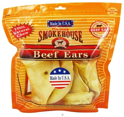DROPPED: Smokehouse Pet Products - Beef Ears Dog Treats - 4 Pack