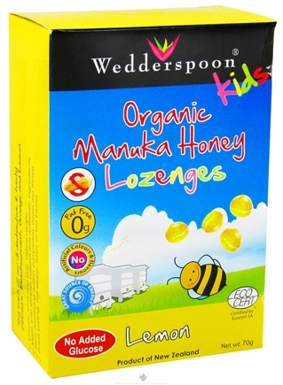 DROPPED: Wedderspoon - Kids Organic Manuka Honey Lozenges Lemon Flavor - 46 Lozenges CLEARANCE PRICED
