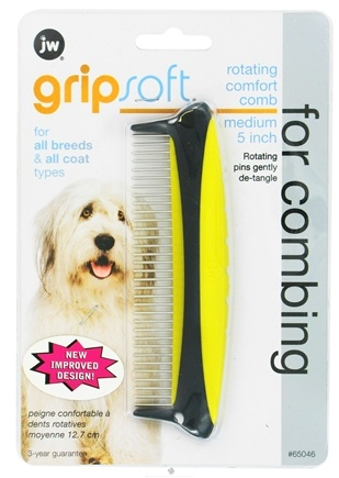 DROPPED: JW Pet Company - Gripsoft Rotating Comfort Comb Medium - 5 in. CLEARANCE PRICED