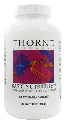 DROPPED: Thorne Research - Basic Nutrients V with Copper without Iron & Iodine - 180 Vegetarian Capsules