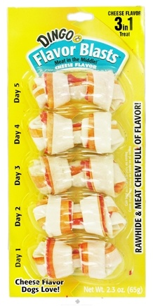 Zoom View - Meat In The Middle Flavor Blasts Rawhide Chew Mini 5-Pack