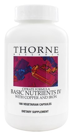 DROPPED: Thorne Research - Basic Nutrients IV Citrate Formula with Copper and Iron - 180 Vegetarian Capsules