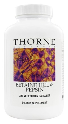 DROPPED: Thorne Research - Betaine HCL & Pepsin - 225 Vegetarian Capsules