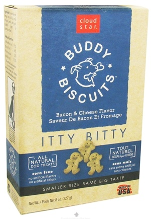 DROPPED: Cloud Star - Buddy Biscuits Itty Bitty Dog Treats Bacon & Cheese - 8 oz. CLEARANCE PRICED