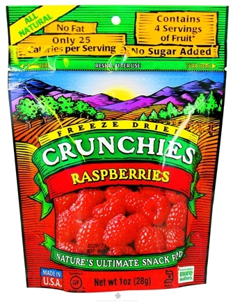 DROPPED: Crunchies - Freeze Dried Fruit Snack Raspberries - 1 oz. CLEARANCE PRICED