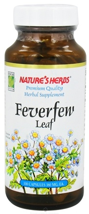 DROPPED: Nature's Herbs - FeverFew Leaf 380 mg. - 100 Capsules CLEARANCE PRICED