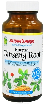 DROPPED: Nature's Herbs - Korean Ginseng Root 550 mg. - 50 Capsules CLEARANCE PRICED