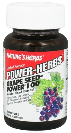 DROPPED: Nature's Herbs - Power Herb Grape Seed 100 mg. - 30 Capsules CLEARANCE PRICED
