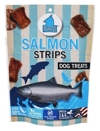 DROPPED: Plato Pet Treats - Salmon Strips For Dogs - 6 oz. CLEARANCE PRICED