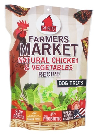 Plato Pet Treats - Farmers Market Dog Treats Chicken & Vegetables - 14.11 oz.