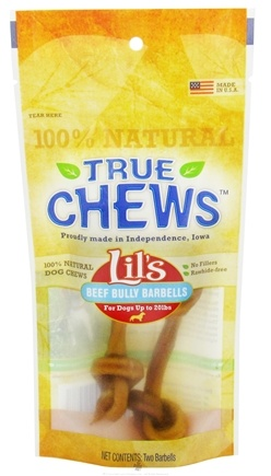 DROPPED: True Chews - Lils Beef Bully Barbells For Dogs - 2 Pack