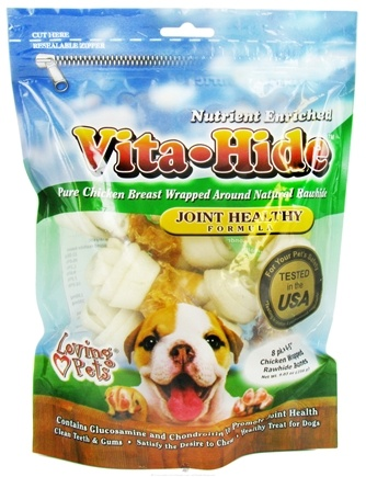 DROPPED: Loving Pets - Vita-Hide Joint Healthy Rawhide Dog Treats 4 in. - 8 Pack