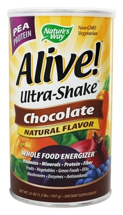DROPPED: Nature's Way - Alive Pea Protein Ultra-Shake Whole Food Energizer Chocolate - 21 oz.