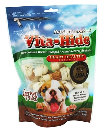 DROPPED: Loving Pets - Vita-Hide Heart Healthy Rawhide Dog Treats 2 in. - 18 Pack