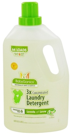 DROPPED: BabyGanics - Laundry Detergent 3X Concentrated Loads of Love Fragrance Free - 64 oz. CLEARANCE PRICED
