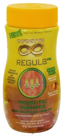 DROPPED: Health Science Labs - Infinity8 Balance Regul8 Pre Prebiotic Gummies For Digestive Health Strawberry, Orange & Lemon Flavors - 60 Gummies