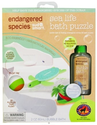 DROPPED: Health Science Labs - Endangered Species Bath Puzzle with 2 oz. Berry Scented Bubble Bath Sea Life - CLEARANCE PRICED